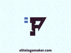 """Create a logo for your company in the shape of a letter """"P"""", with abstract style, with blue and black colors."""