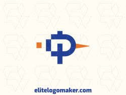 """Simple logo composed of abstract shapes, forming a letter """"P"""" combined with a bird, with blue and orange colors."""