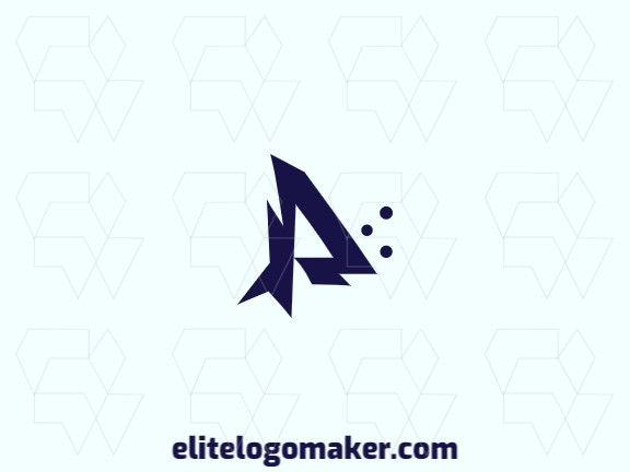 """Vector logo in the shape of a letter """"P"""" combined with a fish, with abstract style and blue color."""
