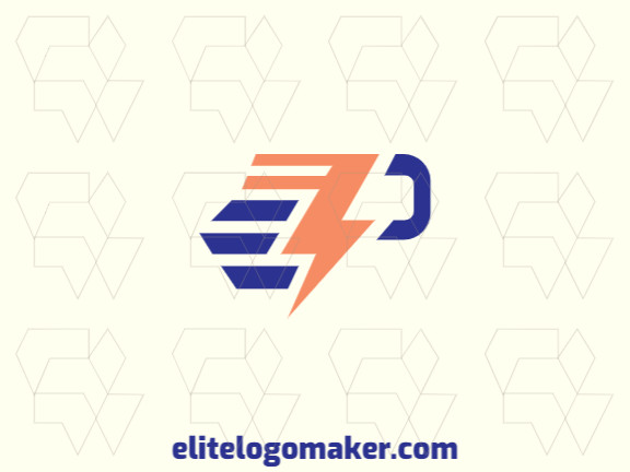 """Minimalist logo with solid shapes forming a letter """"P"""" combined with a lightning bolt, with a refined design with blue and orange colors."""