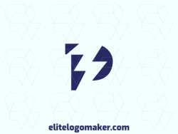 "Creative logo in the shape of a letter ""P"" combined with a lightning bolt, with a refined design and minimalist style."