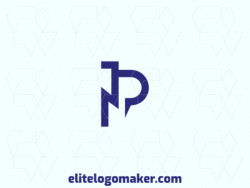 """Vector logo in the shape of a letter """"P"""" combined with a letter """"N"""", with minimalist style and blue color."""