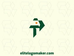 """Logo available for sale in the shape of a letter """"P"""" combined with a parakeet, with minimalist style and green color."""