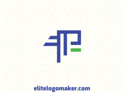 """Customizable logo in the shape of a letter """"P"""" with an abstract style, the colors used was green and blue."""