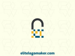 Customizable logo with the shape of a padlock composed of a minimalist style with black, blue, and yellow colors.