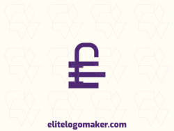 """Create an ideal logo for your business in the shape of a padlock combined with a letter """"E"""", with minimalist style and customizable colors."""