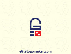 "Minimalist logo created with abstract shapes, forming a padlock combined with a letter ""G"" with blue and red colors."