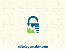 Ideal logo for different businesses in the shape of a padlock combined with a graph, with a minimalist style.