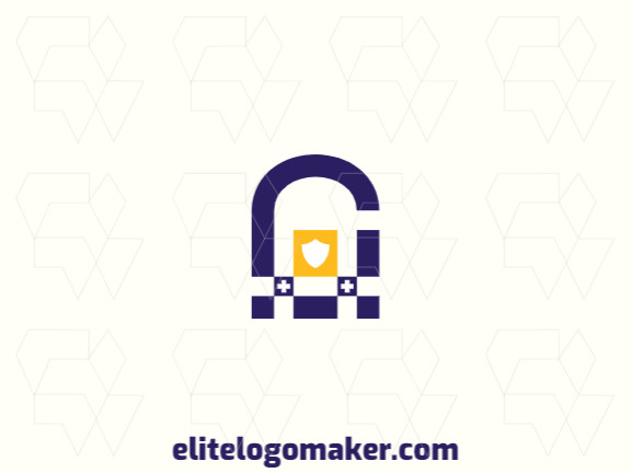 Modern logo in the shape of a padlock combined with a shield, with professional design and minimalist style.