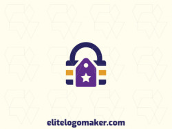 Customizable logo in the shape of a padlock combined with a tag, with a minimalist style, the colors used was blue, purple, and yellow.