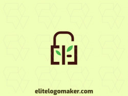 Create a logo for your company in the shape of a padlock combined with tree seedlings with double meaning style.
