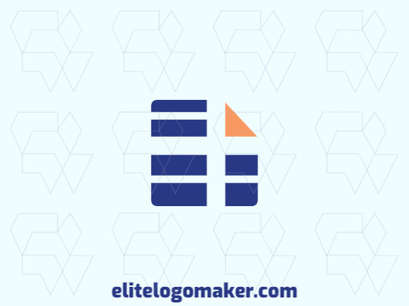 Logo available for sale in the shape of a paper combined with a server, with abstract style with blue and orange colors.