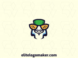 Mascot logo design in the shape of a parakeet composed of stylized shapes with yellow, black, green, and blue colors.