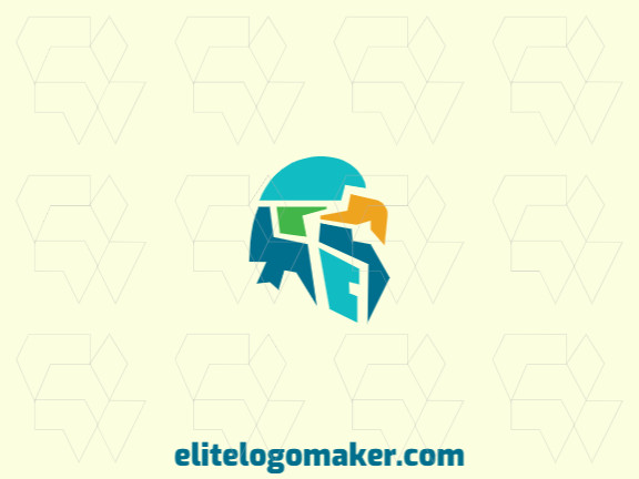 Mascot logo template in the shape of a parakeet head composed of abstracts shapes with green, yellow, and blue colors.