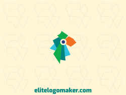 Minimalist logo created with abstract shapes forming a parakeet with blue, green, and yellow colors.