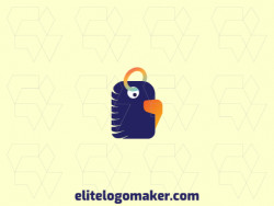Logo available for sale in the shape of a parakeet combined with a tag with abstract style with green, blue, and orange colors.