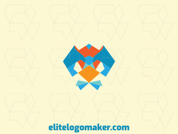 Animal logo with the shape of a stylized parakeet head with yellow, blue and orange colors.