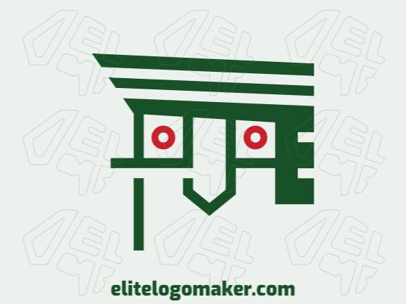 Logotipo abstrato customizável com a forma de um papagaio com cores vermelho e verde.