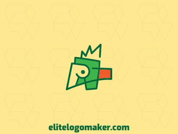 Great logo in the shape of a parrot with abstract design, easy to apply in different media.