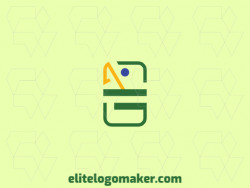 Simple logo with the shape of a parrot combined with a domino with green, blue and yellow colors.