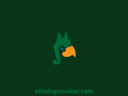 Minimalist logo in the shape of a parrot combined with a musical note composed of abstract shapes and refined design, the colors used in the logo are green and yellow.