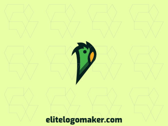 Stylized logo design in the shape of a parrot's head with green and yellow colors.