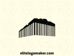 Abstract logo with the shape of a Parthenon combined with a barcode with black color.