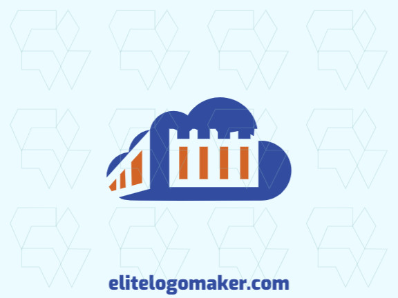 Abstract logo design consists of the combination of a Parthenon with a shape of a cloud with orange and blue colors.