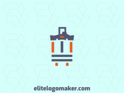 Abstract logo with the shape of a Parthenon combined with a suitcase with gray and orange colors.