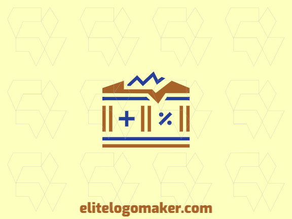 Simple and professional logo design in the shape of a Parthenon combined with a plus and percentage sign with double meaning style, the colors used are blue and brown.