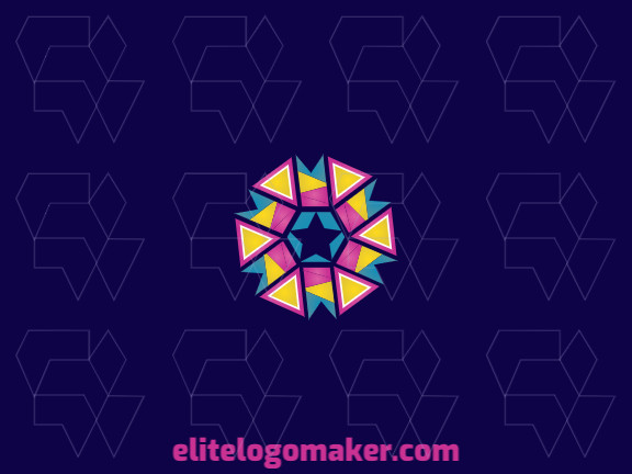 Abstract logo design composed of banners combined with triangles and stars, with a creative and professional design, the colors used are yellow, pink, and blue.
