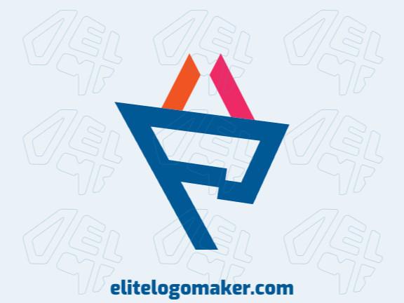 Logotipo criativo com a forma de uma bandeira mesclado com uma cesta com design memorável e estilo minimalista, as cores utilizado foram rosa, azul, e laranja.
