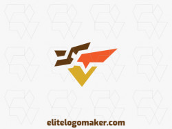 Customizable logo with the shape of a pelican made up of a minimalist style and brown, orange, and yellow colors, that logo is ideal for various businesses.