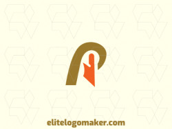 """Minimalist logo with the shape of a pelican combined with a letter """"p"""" with yellow and orange colors."""