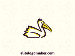 Exclusive logo in the shape of a pelican with abstract design with black and yellow colors.