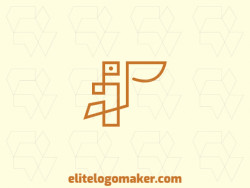 Logotipo elegante com formas abstratas formando um pelicano com design monoline e cor laranja.