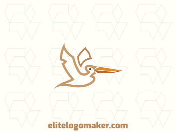 Simple logo design in the shape of a pelican composed of abstracts shapes with orange, beige, and yellow colors.