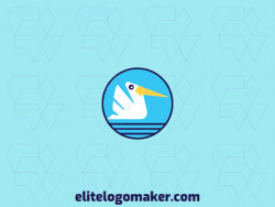 Logo available for sale in the shape of a pelican with circular design with blue, black, and yellow colors.