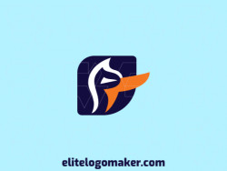 Animal logo design with a refined design forming a pelican with blue, white, and yellow colors.