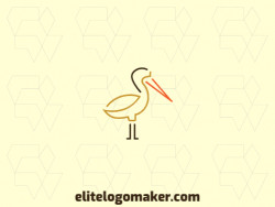 Ready-Made logo with monoline style and abstract shapes forming a pelican with yellow, orange, and brown colors.