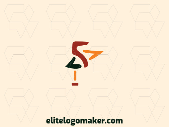 Creative logo in the shape of a pelican with memorable design and hand drawing style, the colors used are: black, yellow, brown.