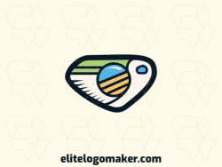 Create a logo for your company in the shape of a pelican combined with a camera with illustrative style, with green, blue, and yellow colors.