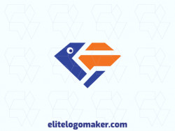 Vector logo in the shape of a pelican combined with a diamond, with abstract design with blue and orange colors.