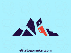 Customizable logo with the shape of a pelican combined with a mountain composed of an abstract style with blue and orange colors.