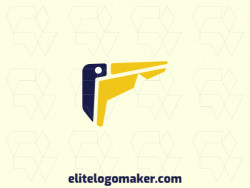 Customizable logo in the shape of a pelican composed of a minimalist style with blue and yellow colors.
