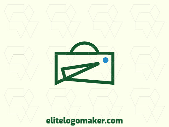 Minimalist company logo in the shape of a penalty area with blue and green colors.
