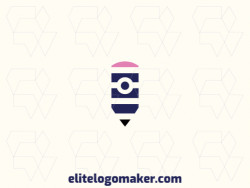 Simple logo composed of abstract shapes, forming a pencil combined with a camera, with blue, black, and pink colors.