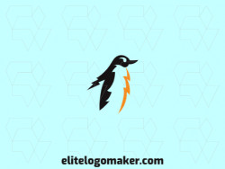 Animal logo design with the shape of a penguin combined with thunderbolt with black and yellow colors.