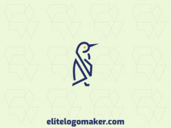 Elegant logo made up of simple shapes, forming a penguin with monoline style, the colors used are blue and orange.
