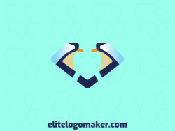 Create a logo for your company in the shape of two penguins forming a diamond with gradient style with blue, yellow, and beige colors.